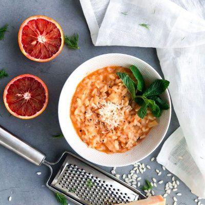 Bloedsinaasappel risotto met venkel