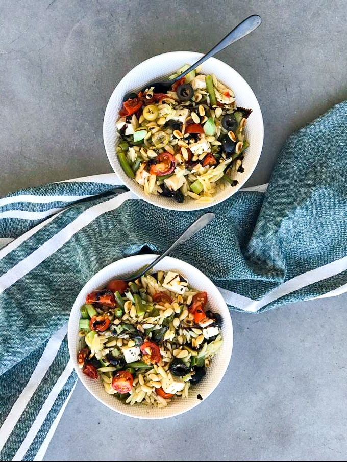 Orzo salade op zijn Grieks/Italiaans