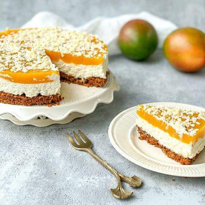 Monchu taart met mango topping