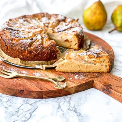 Peren amandel en ricotta taart