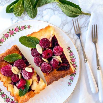 Ricotta taartje met framboos en amandel