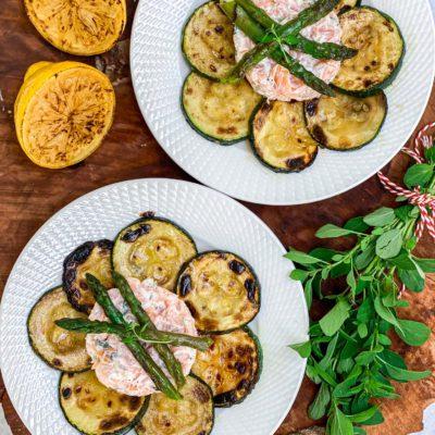 Zalmtartaar met gegrilde groenten
