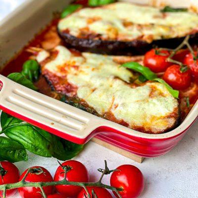 Aubergine met mozzarella uit de oven