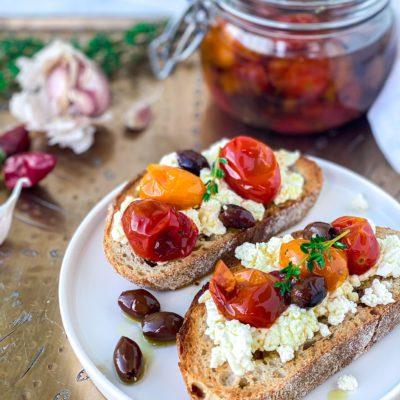Bruschetta met tomaten konfijt